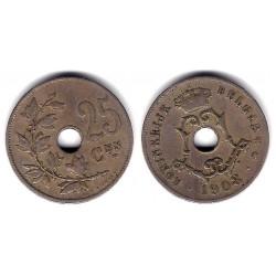 (63) Bélgica. 1908. 25 Centimes (BC+)