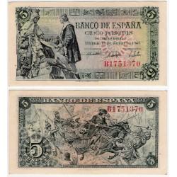 Estado Español. 1945. 5 Pesetas (SC) Serie B