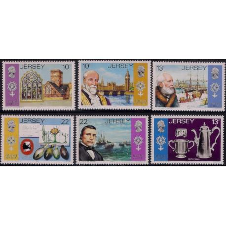 (366 a 371) Jersey. 1985. Serie Completa. Huguenot Heritage (Nuevo)