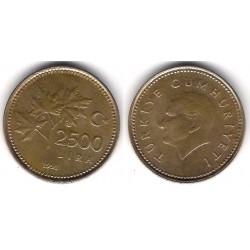 (1015) Turquía. 1991. 2500 Lira (MBC)