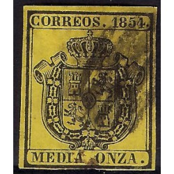 (28) 1854. Media Onza. Escudo de España (Usado)