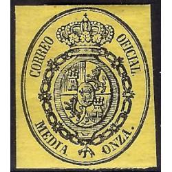 (35) 1855. Media Onza. Escudo de España (Nuevo, con marca de fijasellos)