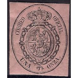 (36) 1855. 1 Onza. Escudo de España (Nuevo, con marca de fijasellos)