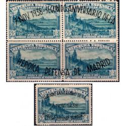 (789 a 790) 1938. 45 Céntimos + 2 Pesetas. II Aniv. Defensa de Madrid (Nuevo, con marca de fijasellos)
