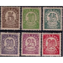 (745 a 750) 1938. Serie Completa. Cifras (Nuevo, con marca de fijasellos)
