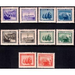 (849) 1938. Serie Completa (10 Valores). Homenaje del Ejercito y la Marina (Nuevo, con marca de fijasellos)