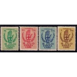 (851 a 854) 1938. Serie Completa. II Aniversario Alzamiento Nacional (Nuevo, con marca de fijasellos)