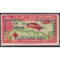 (366) 1927. 20 Céntimos. XXV Aniv. Jura Const. Alf. XIII (Nuevo, con marca de fijasellos)