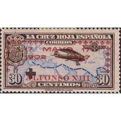 (368) 1927. 30 Céntimos. XXV Aniv. Jura Const. Alf. XIII (Nuevo, con marca de fijasellos)