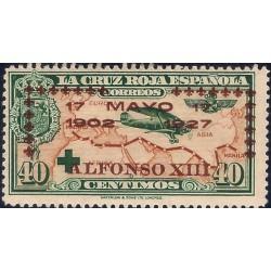 (369) 1927. 40 Céntimos. XXV Aniv. Jura Const. Alf. XIII (Nuevo, con marca de fijasellos)