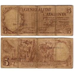 Generalitat de Catalunya. 1936. 5 Pesetas (RC) Serie B. Roturas