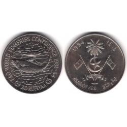 (65) Maldivas. 1984. 20 Rufiyaa (SC)
