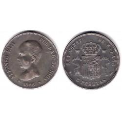Alfonso XII. 1888*(18-88). 5 Pesetas (BC) Ceca de Madrid MS-M. Falsa de Época