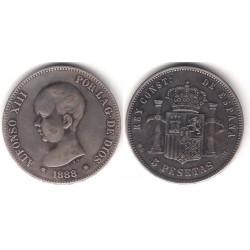 Alfonso XIII. 1888*(18-88). 5 Pesetas (BC+) Ceca de Madrid MS-M. Falsa de Época