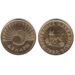 (119) Macedonia. 1993. 5 Denari (EBC+)