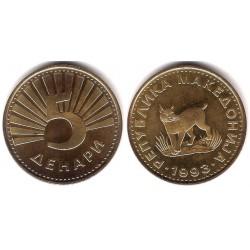 (4) Macedonia. 1993. 5 Denari (EBC+)