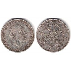 Estado Español. 1966*(19-68). 100 Pesetas (MBC) (Plata) Defecto cuño roto