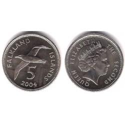 (132) Islas Malvinas. 2004. 5 Pence (SC)