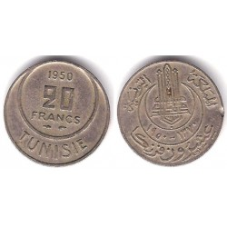 (274) República Tunecina. 1950. 20 Francs (MBC)