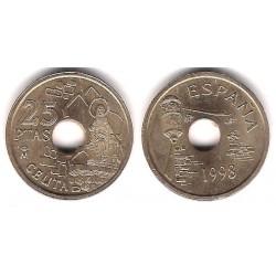 Juan Carlos I. 1998. 25 Pesetas (EBC) Exceso de Metal