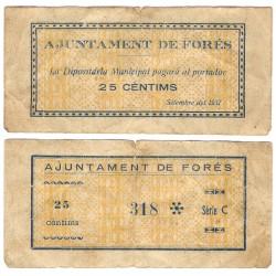 Forés. 1937. 25 Céntimos (BC) Pequeña rotura