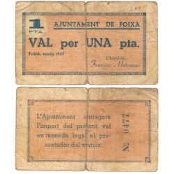 Foixà. 1937. 1 Peseta (BC) Roturas