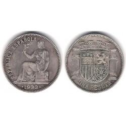 España (II República). 1933*(3-4). 1 Peseta (MBC) (Plata)