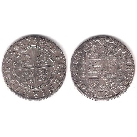 Fernando VI. 1758. 2 Reales (MBC) (Plata) Ceca de Sevilla JV