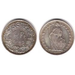 (24) Suiza. 1962(B). 1 Franc (MBC) (Plata)