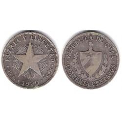 (14.3) Cuba. 1920. 40 Centavos (MBC-) (Plata)