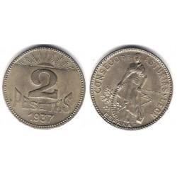 Consejo de Asturias y León. 1937. 2 Pesetas (MBC+)