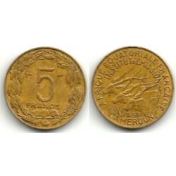 (10) Camerún. 1958. 5 Francs (BC+)
