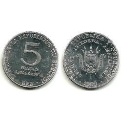 (20) Burundi. 1980. 5 Francs (EBC+)