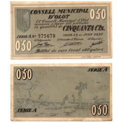 Olot. 1937. 50 Céntimos (MBC+) Serie A