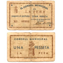 La Pera. 1937. 1 Peseta (BC-) Roturas