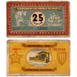 Premia de Mar. 1937. 25 Céntimos (BC)