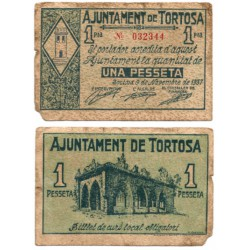 Tortosa. 1937. 1 Peseta (BC) Roturas