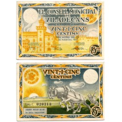 Viladecans. 1937. 25 Céntimos (SC)