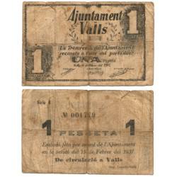Valls. 1937. 1 Peseta (BC-) Roturas