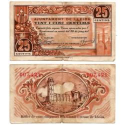 Lérida. 1937. 25 Céntimos (BC) Leves Roturas doblez central