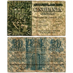 Barcelona. 1937. 50 Céntimos (BC) Serie A