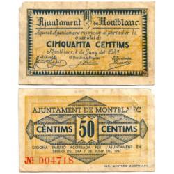 Montblanc. 1937. 50 Céntimos (BC) Roturas