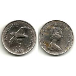 (4.1) Islas Malvinas. 1987. 5 Pence (EBC)