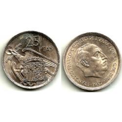 Estado Español. 1957*(BA). 25 Pesetas  (SC)