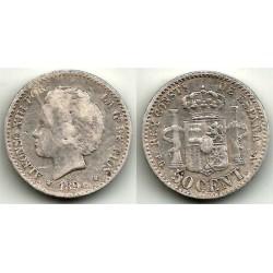 Alfonso XIII. 1894*(9-4). 50 Céntimos (BC-) (Plata) Ceca de Madrid PG-V