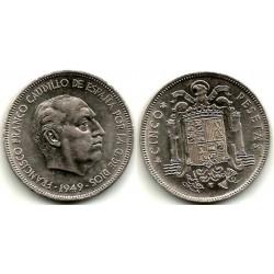 Estado Español. 1949*(19-49). 5 Pesetas (MBC) Variante. Hilo de Metal