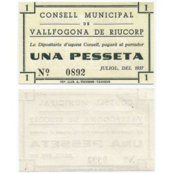 Vallfogona de Riucorp. 1937. 1 Peseta (SC)
