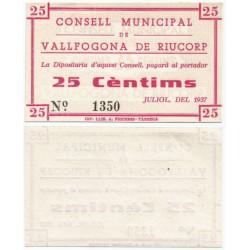 Vallfogona de Riucorp. 1937. 25 Céntimos (SC)
