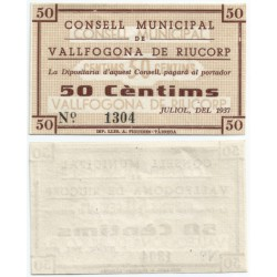 Vallfogona de Riucorp. 1937. 50 Céntimos (SC)