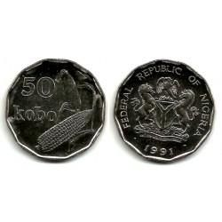 (12) Nigeria. 1991. 50 Kobo (SC)